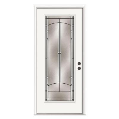 36 in. x 80 in. Idlewild Full Lite Primed Premium Steel Prehung Front Door with Brickmould