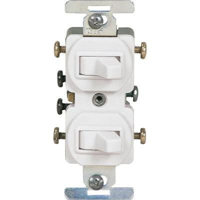 15 Amp Commercial Grade Toggle Duplex Switch - White