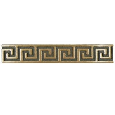 Contempo Greek Key Bronze Liner 6 in. x 1 in. Metallic Wall Trim Tile