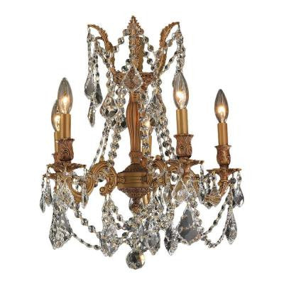 Windsor Collection 5-Light French Gold and Clear Crystal Chandelier