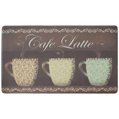 Cafe Latte 18 in. x 30 in. Foam Comfort Kitchen Mat