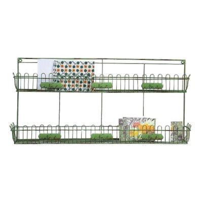 Varden Distressed 2-Shelf 28.5 in. W x 13.75 in. H Metal Wall Shelf