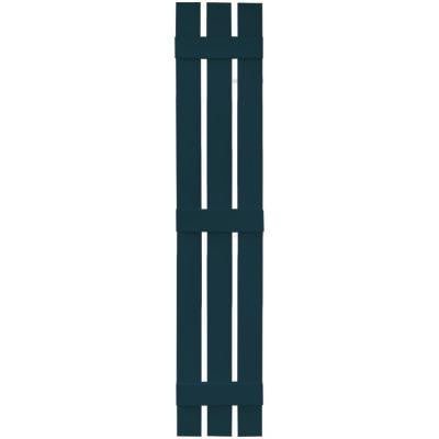 12 in. x 71 in. Board-N-Batten Shutters Pair, 3 Boards Spaced #166 Midnight Blue