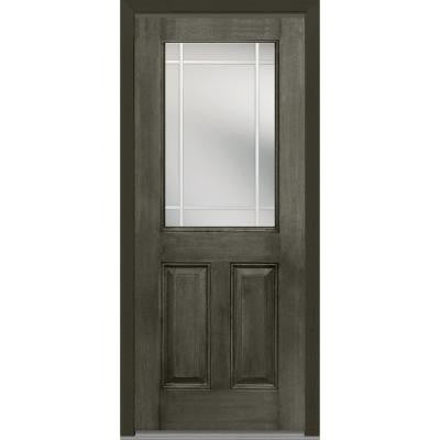 36 in. x 80 in. Classic Clear Glass PIM 1/2-Lite Finished Mahogany Fiberglass Prehung Front Door
