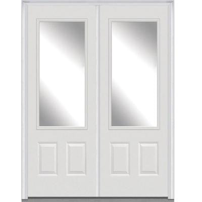 72 in. x 96 in. Classic Clear Glass 3/4-Lite Painted Fiberglass Smooth Double Prehung Front Door