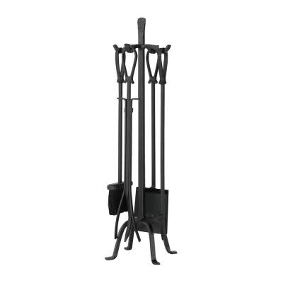 Olde World Iron 5-Piece Fireplace Tool Set with Loop Handles
