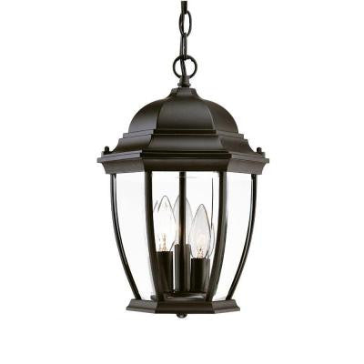 Wexford Collection Hanging Lantern 3-Light Outdoor Matte Black Light Fixture