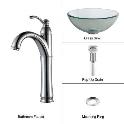 Glass Vessel Sink in Clear with Single Hole 1-Handle High-Arc Riviera Faucet in Chrome