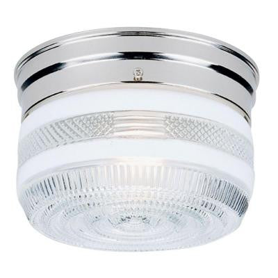 1-Light Ceiling Fixture Chrome Interior Flush-Mount with White and Clear Glass