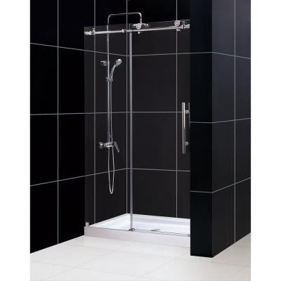 Enigma-X 48 in. x 76 in. Frameless Sliding Shower Door in Brushed Stainless Steel with 48 in. x 36 in. D Base