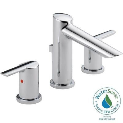 Compel 8 in. Widespread 2-Handle Mid-Arc Bathroom Faucet in Chrome