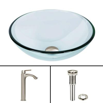 Glass Vessel Sink in Crystalline and Linus Vessel Faucet Set in Brushed Nickel