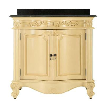 Estates 37 in. Vanity in Antique White with Granite Vanity Top in Black