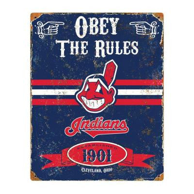 14.5 in. H x 11.5 in. D Heavy Duty Steel Cleveland Indians Embossed Metal Sign Wall Art