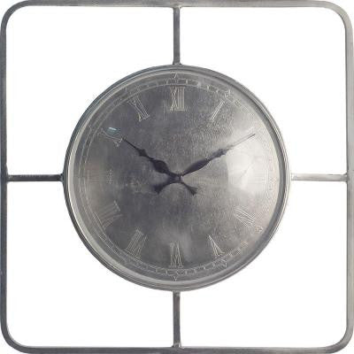 18.5 in. H Square Raw Nickel Wall Clock