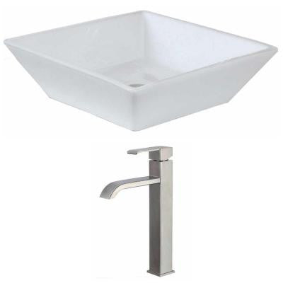 Square Vessel Sink Set in White with Deck Mount cUPC Faucet
