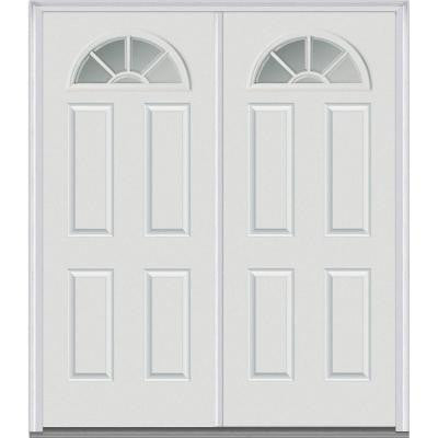 64 in. x 80 in. Classic Clear Glass GBG 1/4 Lite Painted Fiberglass Smooth Double Prehung Front Door