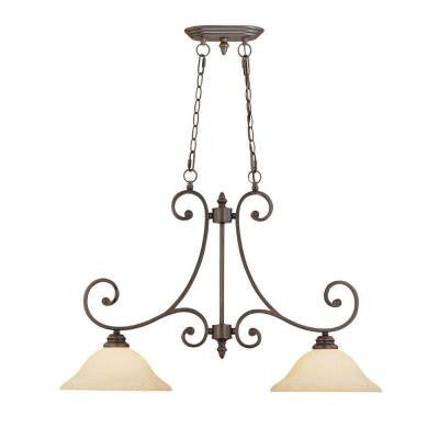 2-Light Rubbed Bronze Island Light with Turinian Scavo Glass