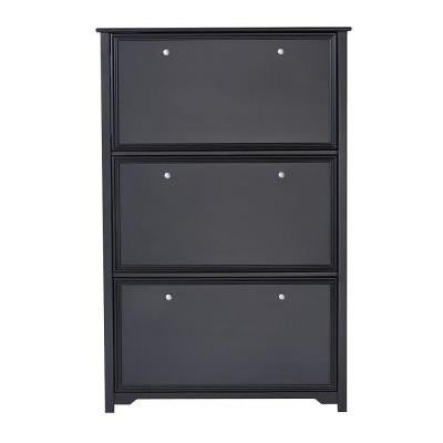 Oxford 36 in. W 3-Tier Black Shoe Cabinet