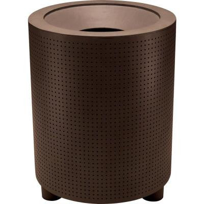 Grand Isle 32 Gal. Hazelnut Perforated Contract Trash Can with Liner and Flat Top