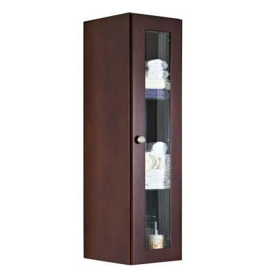 11.75-in. W x 47.75-in. H Transitional Cherry Wood-Veneer Wall Curio In Coffee