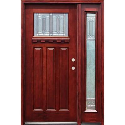 52 in. x 80 in. Diablo Craftsman 1 Lite Stained Mahogany Wood Prehung Front Door with Dentil Shelf & One 12 in. Sidelite