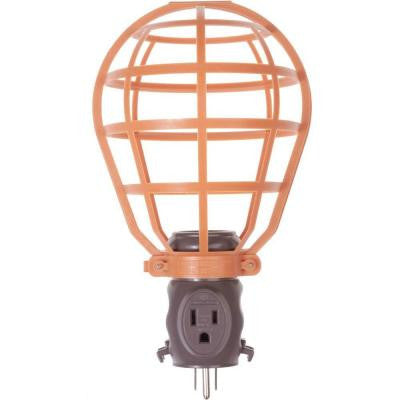 15 Amp Work Light Basket Guard with 1-Outlet