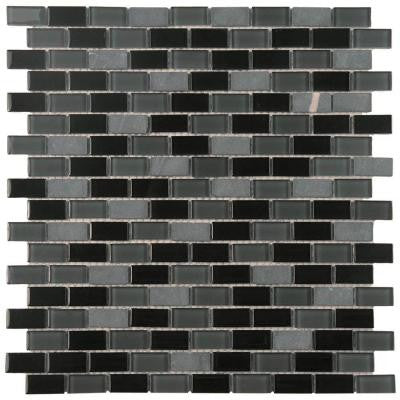 Spectrum Mini Subway Citadel 11-1/4 in. x 11-3/4 in. x 4 mm Glass and Stone Mosaic Wall Tile