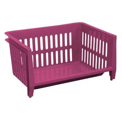 19 in. W x 14 in. D x 10 in. H Jumbo Storage Stacking Basket in Fushia