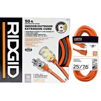 RIDGID 50 ft. 10-3 Extension Cord + Free 25 ft. 16-3 Extension Cord