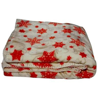 White and Red Polyester Patterned Throw