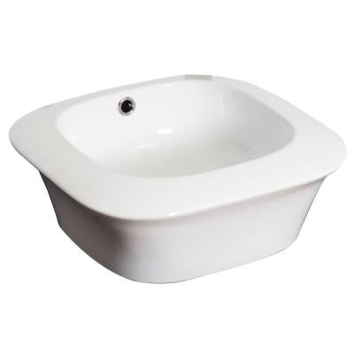 17-in. W x 17-in. D Above Counter Square Vessel Sink In White Color For Deck Mount Faucet