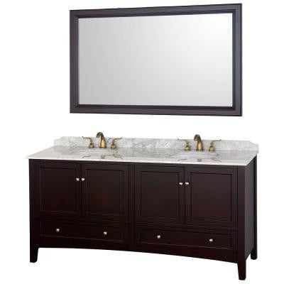 Audrey 72 in. Vanity in Espresso with Double Basin Marble Vanity Top in Carrera White and Mirror