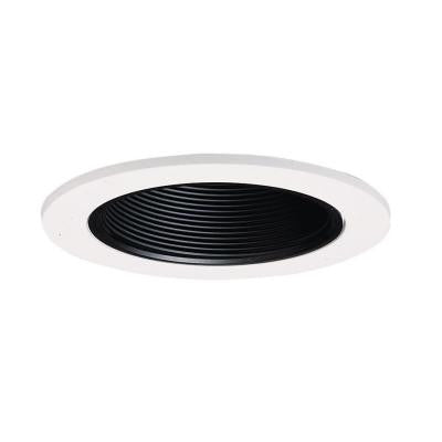 4 in. Black Recessed Lighting Baffle with White Trim