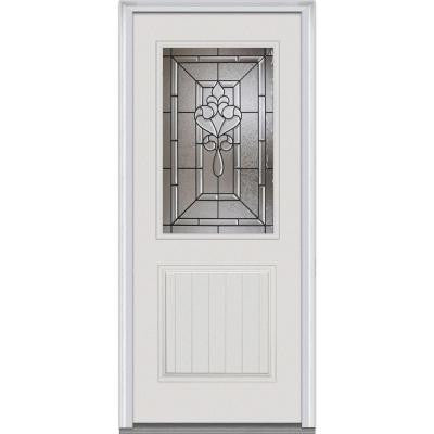 32 in. x 80 in. Fontainebleau Decorative Glass 1/2 Lite 1-Planked Panel Primed Fiberglass Smooth Prehung Front Door