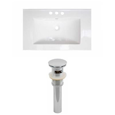 32 in. W x 18 in. D Ceramic Vanity Top Set with Basin in White and Drain
