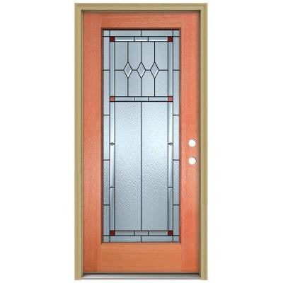 36 in. x 80 in. Ashmore Full Lite Unfinished Mahogany Wood Prehung Front Door with Brickmould and Patina Caming