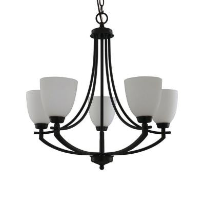 5-Light Bronze Chandelier with White Frosted Glass Shade