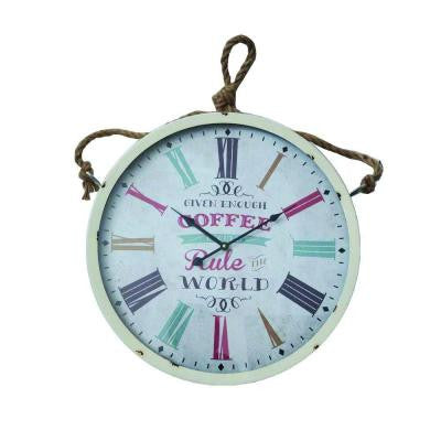 33 in. x 20.5 in. Circular MDF Wall Clock with Rope in White Frame