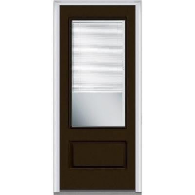 36 in. x 80 in. Classic Clear Glass RLB 3/4 Lite 1-Panel Painted Fiberglass Smooth Prehung Front Door