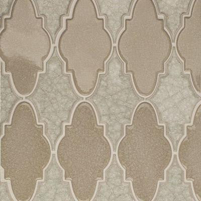 Roman Selection Iced Light Cream Arabesque Glass Mosaic Tile - 3 in. x 6 in. Tile Sample