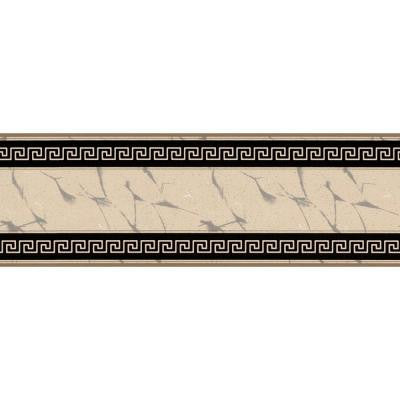 6.83 in. x 15 ft. Black and Beige Greek Key Marble Border