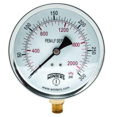 PEM-LF Series 4 in. Lead-Free Brass Pressure Gauge with 1/4 in. NPT LM and 0-300 psi/kPa