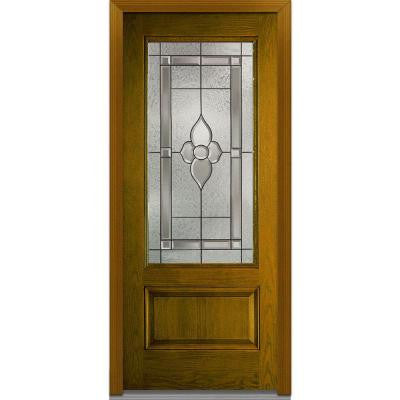 36 in. x 80 in. Master Nouveau Decorative Glass 3/4 Lite 1-Panel Finished Oak Fiberglass Prehung Front Door