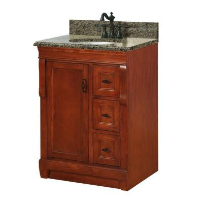 Naples 25 in. W x 22 in. D Vanity with Right Drawers in Warm Cinnamon with Granite Vanity Top in Quadro