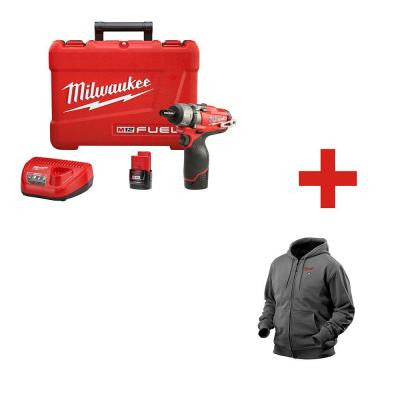 M12 FUEL 12-Volt Lithium-Ion Brushless 1/4 in. Cordless Hex 2-Speed Screwdriver Kit with Large Gray M12 Heated Hoodie