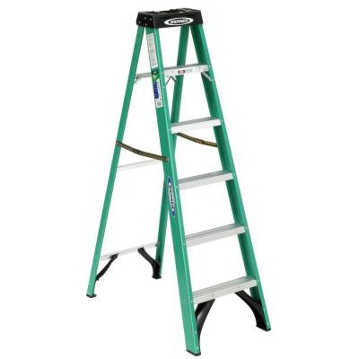 6 ft. Fiberglass Step Ladder with 225 lb. Load Capacity Type II Duty Rating
