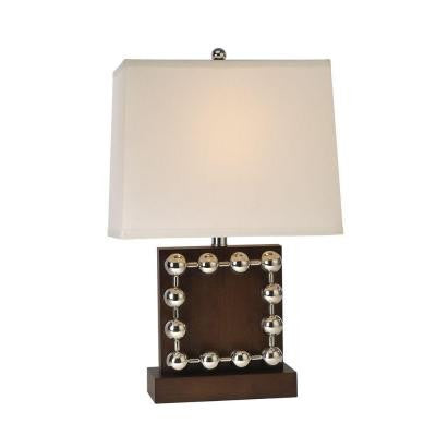 Benette 22 in. Espresso and Stainless Steel Table Lamp