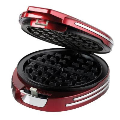Retro Series '50s-Style Round Belgian Waffle Maker in Red
