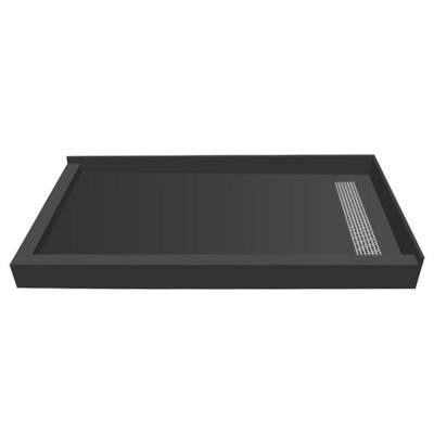 48 in. x 60 in. Double Threshold Shower Base with Right Drain and Solid Brushed Nickel Trench Grate